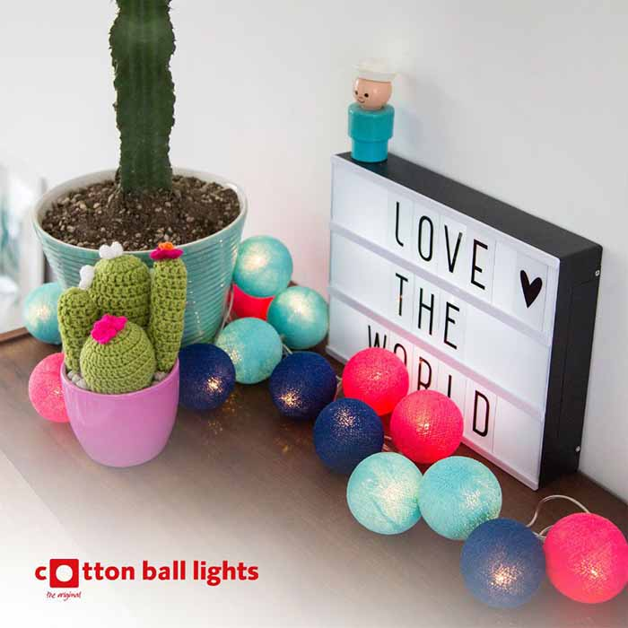 Cotton Ball valosarja bright 20-palloa