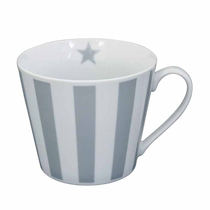 Happy Cup muki Vertical Stripes harmaa