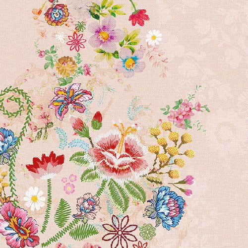 Servetti Embroidery Flowers kahvi