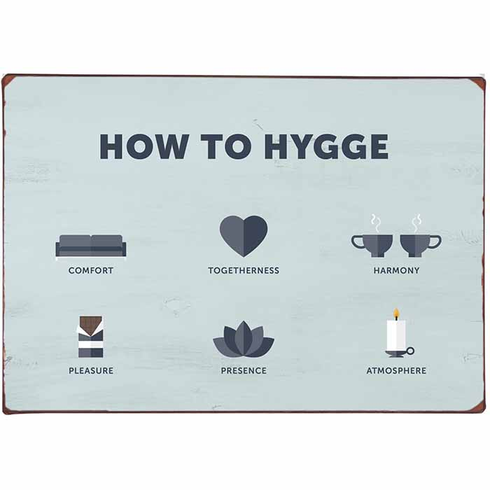 Metallikyltti How to Hygge