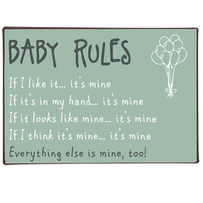 Metallikyltti Baby Rules