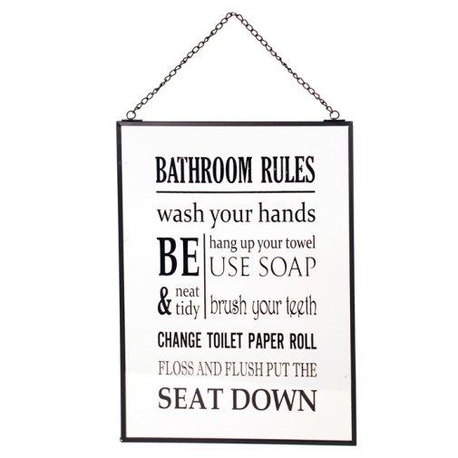 Lasitaulu Bathroom Rules Kylpyhuone Ja Sauna Hyv N Tuulen Puoti